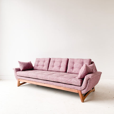 Mid Century Gondola Sofa with New Purple/Pink Upholstery