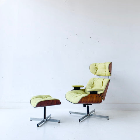 Mid Century Modern Plycraft Lounge Chair and Ottoman with New Upholstery