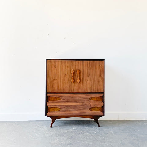 Mid Century Modern Burl + Bookmatched Highboy Dresser
