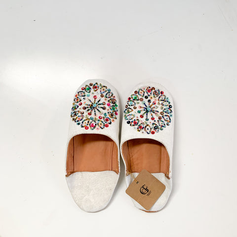 White with multicolor sequins - W's Size 7-8