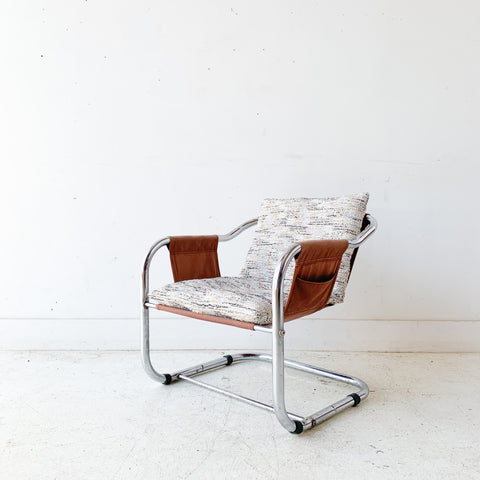 Vintage Chrome Tubular Sling Chair