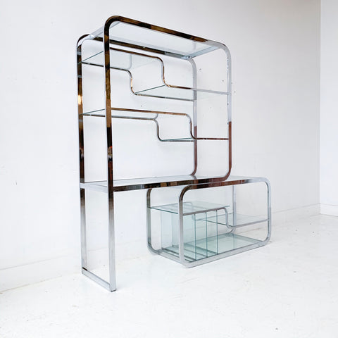 Mid Century Modern Chrome and Glass Etagere