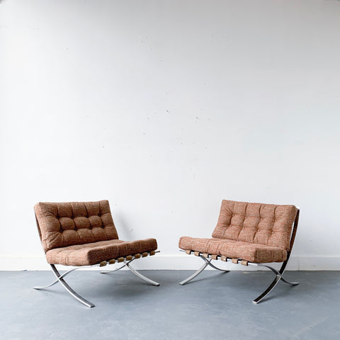 "Pair of Vintage Reproduction Mies Van Der Rohe ""Barcelona"" Chairs"