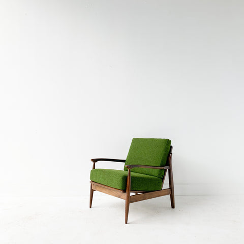 Mid Century Lounge Chair with Green Upholstery