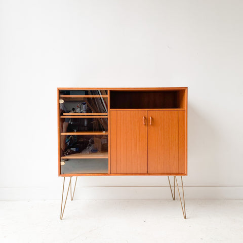 Teak Media Cabinet w/ Slide Out Turn Table Tray