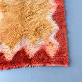 Mid Century Modern Rya Rug with Red and Gold Hues