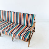Mid Century Modern Sofa with New Multi-Stripe Upholstery