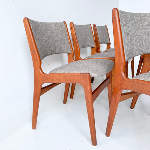 Set Of 6 Danish Teak Dining Chairs With New Upholstery