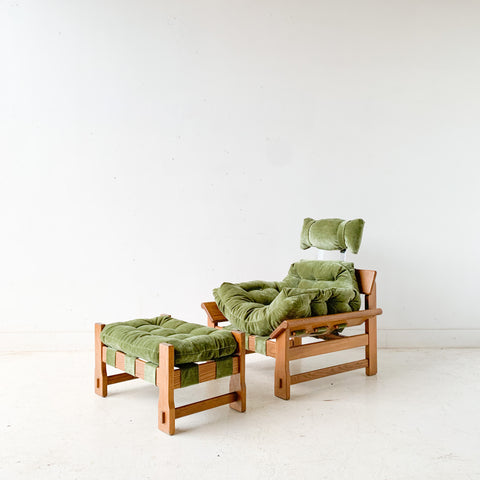 Vintage Lounge Chair and Ottoman with New Soft Green Upholstery