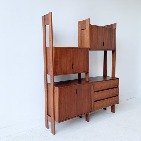 Mid Century Walnut Wall Unit/Room Divider