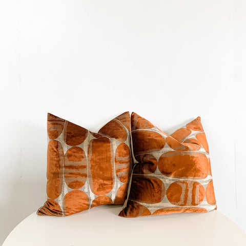 "PAIR OF 22"" RETRO RUST EMBOSSED VELVET"