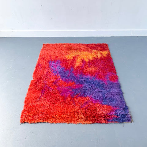 Mid Century Modern Rya Rug with Red and Purple Hues