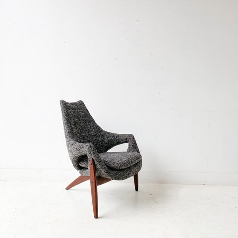 Mid Century Modern Rare Luigi Tiengo Lounge Chair with New Upholstery