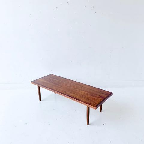 Mid Century Modern Walnut Coffee Table on Tapered Legs