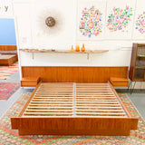 Mid Century Danish Teak King Size Platform Bed with Floating Nightstands