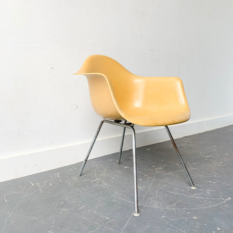 Mid Century Modern Herman Miller Yellow Shell Chair