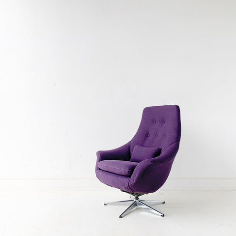 Mid Century Modern High Back Lounge/Swivel Chair with New Purple Upholstery