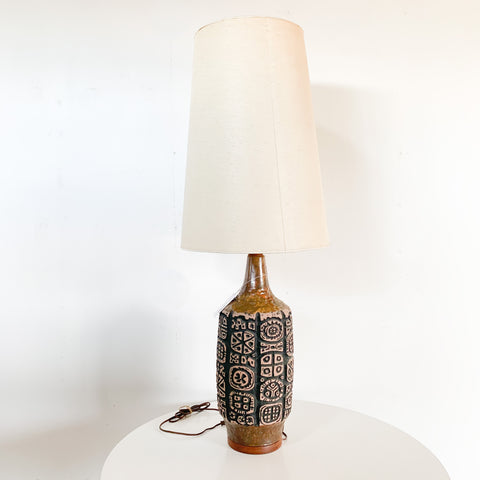 Architectural Lamp - Pottery & Teak