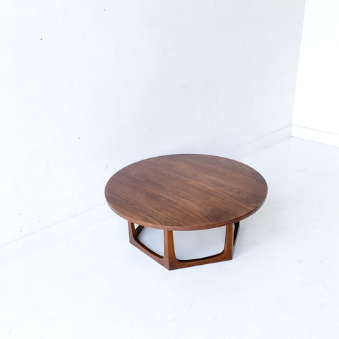 Mid Century Modern Round Walnut Coffee Table