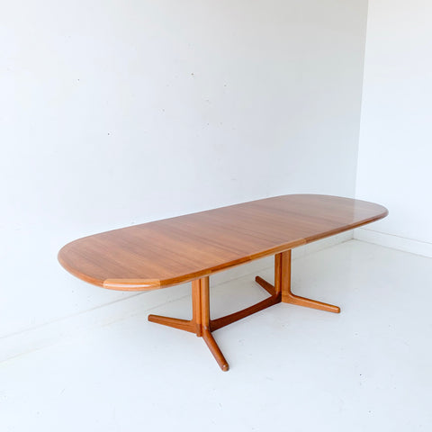 Mid Century Modern Danish Teak Dining Table with 2 Leaves by E. Valentinsen