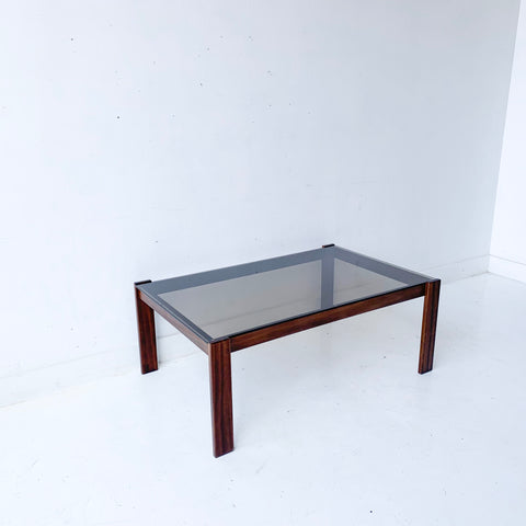 Mid Century Coffee Table with Smoked Glass