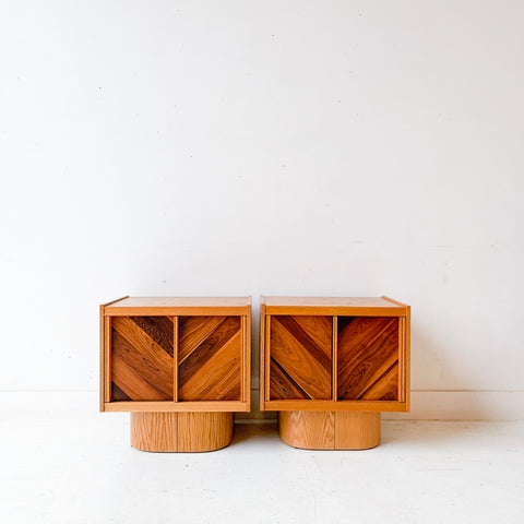 Pair of Mid Century Modern Brutalist Nightstands