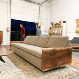 Mid Century Modern Sofa with Live Edge Black Walnut Sides - New Upholstery