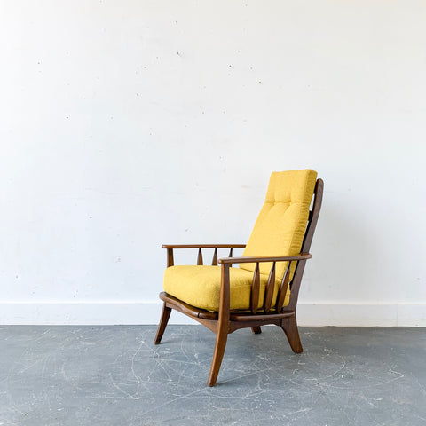 Mid Century Modern High Back Lounge Chair with New Upholstery