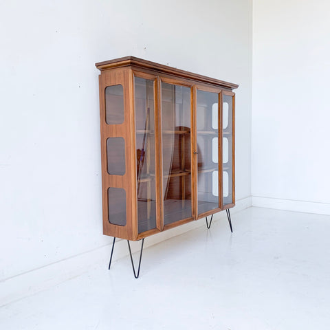 Mid Century Modern Walnut Curio Cabinet with Glass Sides