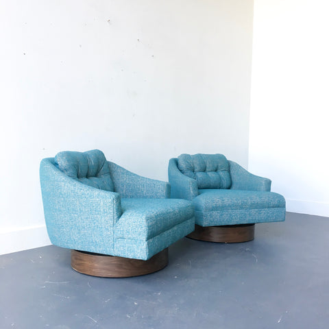 Pair of Mid Century Modern Club Chairs with New Upholstery