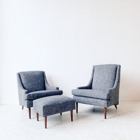 Pair of Mid Century Lounge Chairs w/ Ottoman