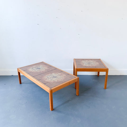 Danish Teak Coffee and End Table Set by Gansto Mobler