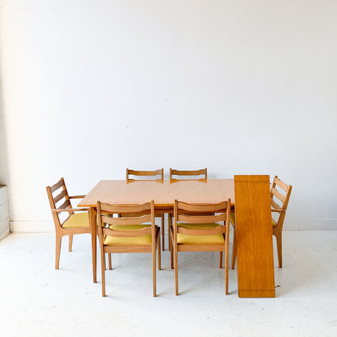 Mid Century Modern Basic Witz Dining Set with 6 Chairs and 1 Leaf
