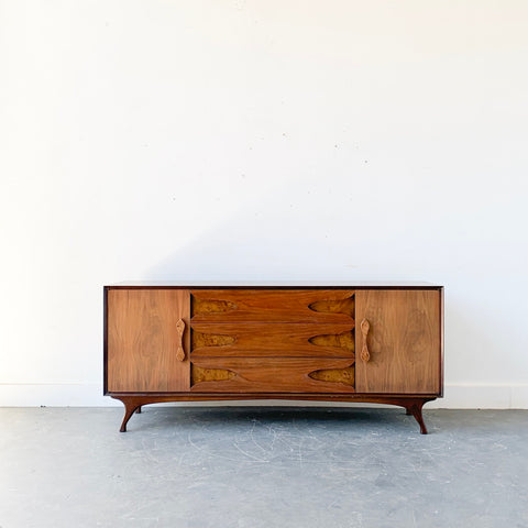 Mid Century Modern Burl + Bookmatched Dresser with Sculpted Legs