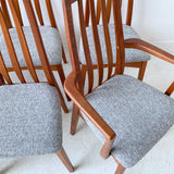 Set of 8 Sculpted Teak Dining Chairs with New Upholstery