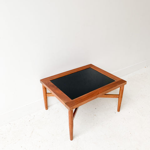 Mid Century Walnut and Glass End Table