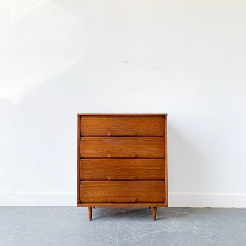 Mid Century 4 Drawer Highboy Dresser