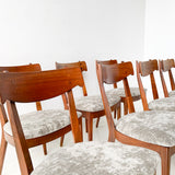 Set of 10 Drexel Dining Chairs with New Upholstery