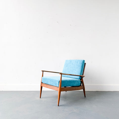 Mid Century Lounge Chair with New Blue Upholstery