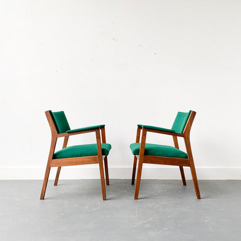 Pair of Mid Century Modern Occasional Chairs with New Green Upholstery