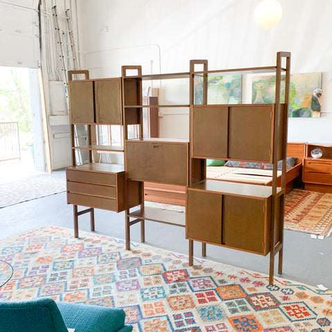 Mid Century 3 Bay Wall Unit
