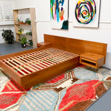Mid Century Danish Teak Queen Size Platform Bed with Nightstands