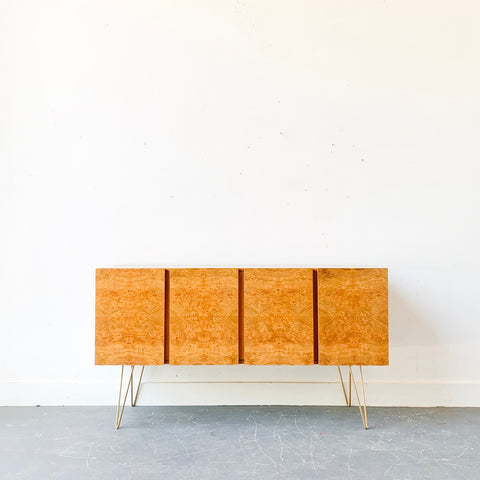 Mid Century Modern Burlwood Front Credenza by Lane