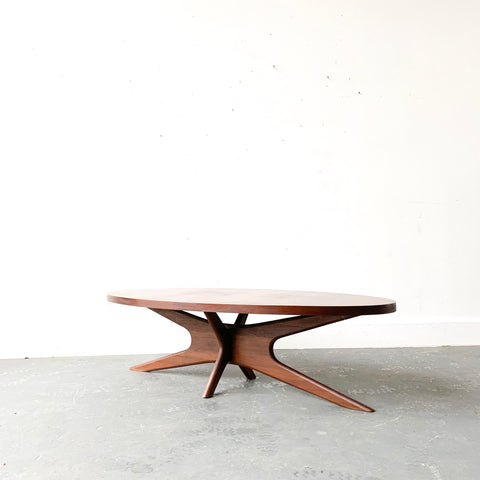 Mid Century Coffee Table with Sculpted Base