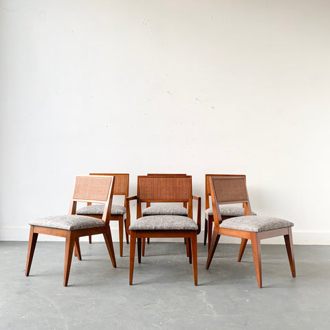 Set of 6 Sculpted Walnut Cane Back Dining Chairs