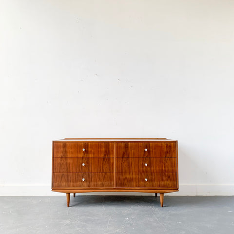 Mid Century Modern Walnut Dresser with Unique Drawer Pulls