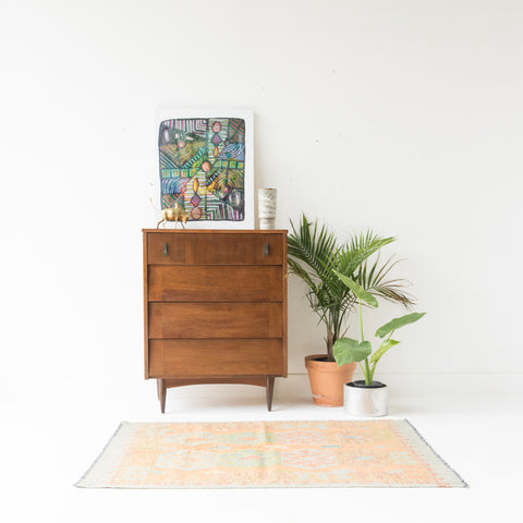 Mid Century Louvered Front Highboy Dresser