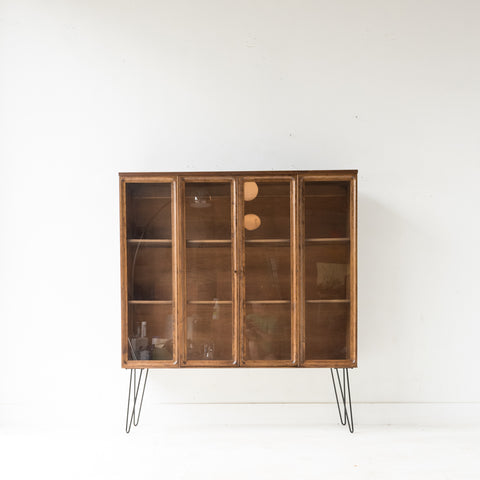 Walnut Curio Cabinet on Hairpin Legs