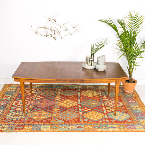 Mid Century Walnut Dining Table with 1 Leaf