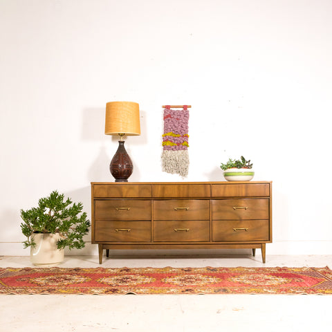 Mid Century Dresser with Brass Pulls